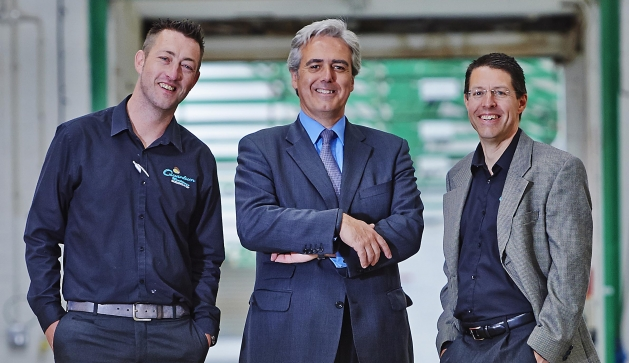 Steve Galbraith operations director, Quantum Mouldings, Mark Garnier MP for Wyre Forest and Peter Wooldridge MD, Quantum Mouldings